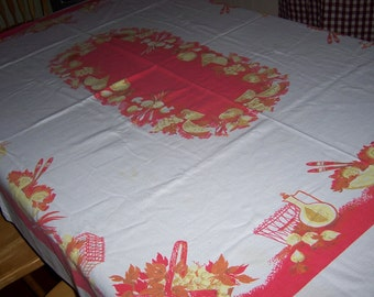 Vintage Startex , tablecloth with fruit baskets plus