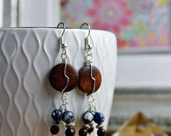 brown and blue wooden bead boho earrings