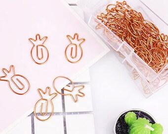 Set di 4 oro rosa / ananas di rame a forma di graffetta / clip planner