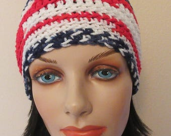 USA Beanie, Patriotic Hat, American Beanie, Gender Neutral Hat, Red White & Blue Beanie, Red White and Blue Snow Hat