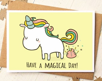 Funny birthday cards etsy unicorn card funny birthday card unicorn birthday card have a magical day m4hsunfo Images