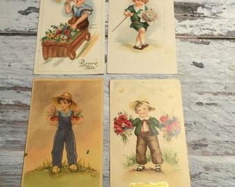 Vintage Postcards . Set of 4 Vintage Illustrated Postcard . Children Postcards . Kids Postcard .