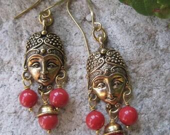 50% OFF SALE - Golden Goddess Red Coral Bohemian Chandelier Earrings