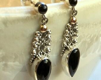 Black onyx earrings, Sterling Silver dangle earrings, teardrop shaped earrings, filigree earrings, long black stone earrings EG693X-L