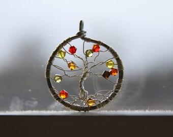 Falling Autumn Leaves Swarovski Tree of Life Necklace