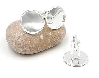 cabochon 18mm silver plate cuff links-10