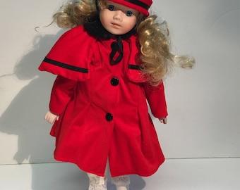 Vintage Porcelain Doll Red/ Black Dress