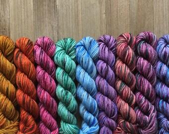 SALE Hand Dyed Yarn, Hand Dyed Sport Yarn Minis, 4ply Sport Yarn, 75/25 Superwash Merino Nylon Yarn, Mini Mix Mini Set on Trusty Sport Yarn