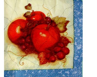 Set of 3 paper napkins FRU001 apples and grapes, Red