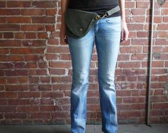 Fanny Pack, Olive Green, Cotton, Belt Bag, Hip Bag, Travel Bag, Waist Bag, Hands Free, Dog Walking Bag, Festival Bag, Gift for Her, Stylish