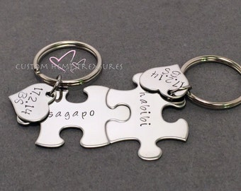 Hand stamped Keychains with personalized name and date, Puzzle Piece Keychain Set, Couples Keychains, Couples Gift, Anniversary Gift Custom