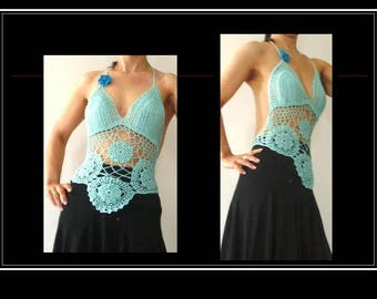 Halter mesh cotton lace and rosettes green of water