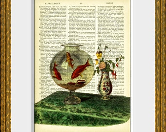 GOLDFISH BOWL recycled book page art print - an antique dictionary page with a vintage French illustration - home decor - vintage charm