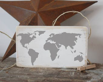 World map, mini signs, globe travel, wood quote block, gifts under 20, gallery wall, vignette piece, desk sign, office, boho, traveller