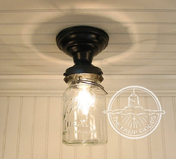 Flush mount mason jar ceiling light fixture single vintage zoom aloadofball Image collections