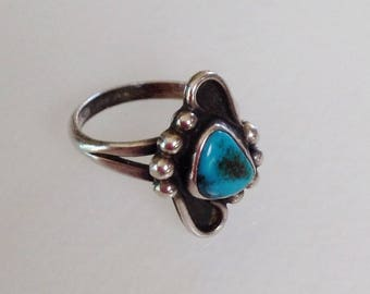 Native American Old Pawn Navajo Turquoise Sterling Silver Ring Size 6