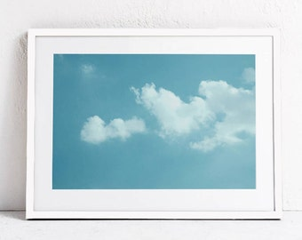 Cloud Wall Art Print, Blue Sky Photo Print, Blue Minimalist Decor, Cloud Printable Art Bedroom Art Cloud Photography, Digital Print Download