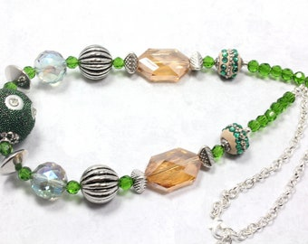 Green Artisan Bead Necklace, Green and Gold Necklace, Artisan Beaded Necklace, Chunky Necklace, Kashmiri Beads, Crystal Beads