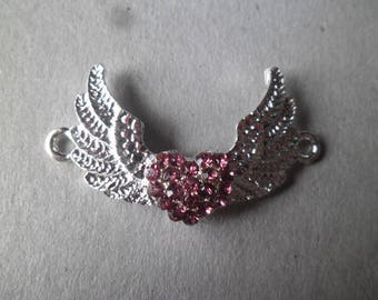 x 1 4 x 2.5 cm silver plated Pink Rhinestone Crystal heart wing connector
