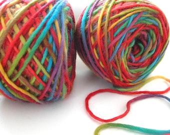Bulky Yarn Hand Dyed Yarn Bulky Wool Yarn Single Ply Variegated Space Dyed Yarn DIY Felting Yarn Red Blue Gold Green - Southwest Rainbow