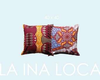 Colourful Ibiza-style pillow with African Waxprint