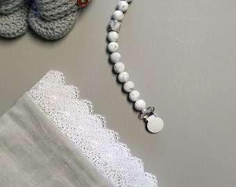 Marble Pacifier Clip