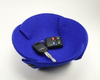Small Felt Bowl in 5mm Thick Virgin Merino Wool Felt- Royal Blue