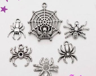 6 35 to 15mm spider charms. Pendant Gothic /et Halloween spiderweb silver metal