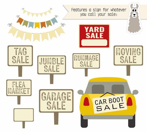 Yard Sale Clipart Garage Clip Art Rummage Tag Flea Market Boot Moving Jumble