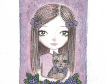Miniature original watercolour painting ~ purple girl with her tabby cat and violets, big eye lowbrow art