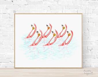 Synchronized swimming pink flamingos print, 5 x 7'', 8 x 10'' and 11 x 14'' print