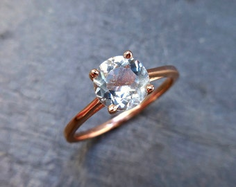 Aquamarine Ring, 14kt Rose Gold, round baby blue aqua, engagement ring, solitaire, march birthstone, something blue