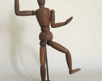 French vintage. Wooden mannequin. Pantin articulated drawing. 1950