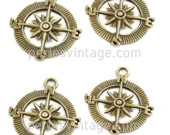 5 pendants bronze metal compass