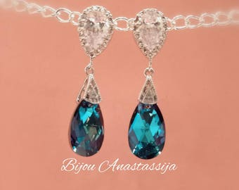 Earrings Sterling Silver 925-er with cubic zirconia and Swarovski crystal Blue