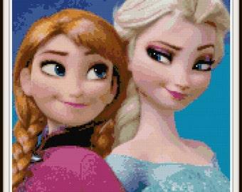 Frozen Elsa and Anna Cross Stitch Pattern - PDF Download