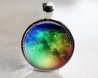 Space Rainbow Pendant, Necklace or Key Chain in choice of 4 Bezel Colors - Matching Earrings Available