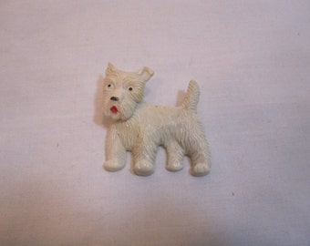 Vintage White Celluloid Dog Pin with Movable Head