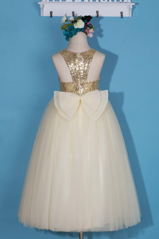 Flower girl dress/Gold flower girl dress/Ivory tulle girl