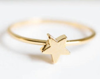 Ring star in silver, gold or rose colour