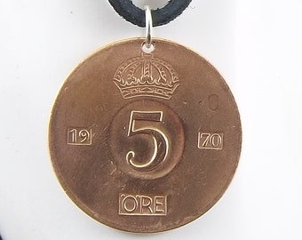 Swedish Coin Necklace, 5 Ore, Coin Pendant, Leather Cord, Mens Necklace, Womens Necklace, 1970