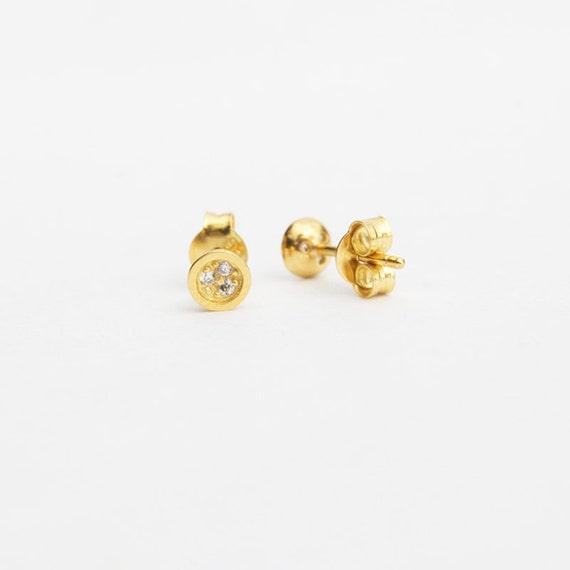 Popolare Tiny oro borchie orecchino cz piccolo piccoli orecchini HJ92