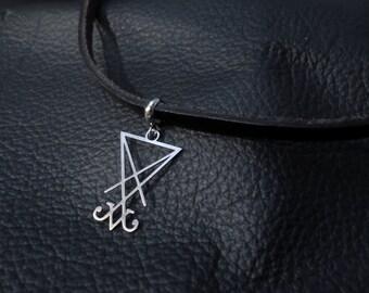 Satan's Sigil Choker genuine black leather satanic occult jewelry Demon