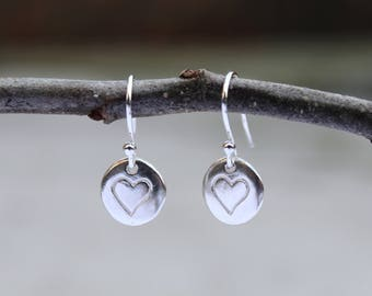 Heart Pebble Drop Earrings (Sterling Silver)