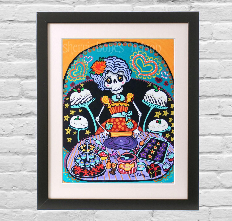 Folk Art Print. Mexican Day of the Dead Kitchen Wall Decor. La