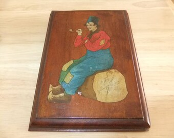 Antique  Art Deco Oak  Hand Painted Dutch  Wall Plaque Man Smoking a Pipe