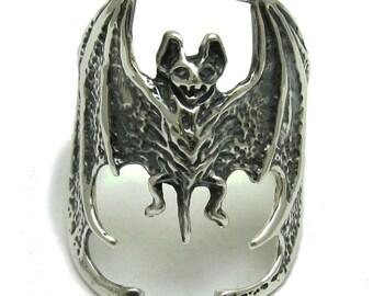 Sterling silver ring solid 925 bat vampire biker pendant