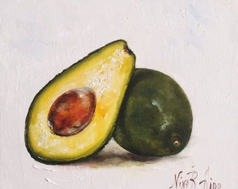 Avocado Original Oil Painting Fine Art Kitchen Art Small Painting 6x6 Fruit Vegetable by Nina R Aide
