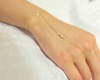 Two Tone 3 Bead Hand Chain / Gold Filled, Sterling Silver, Minimalistic, Delicate, Thin, Dainty, Bohemian, Boho / Anabel Nove