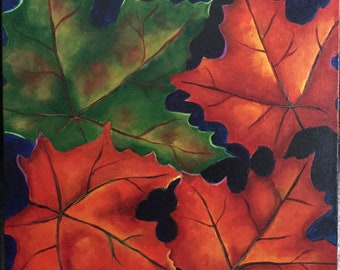 ORIGINAL BOLD Autumn Leaves OIL Diptych Painting Room Decor Wall Art by Merrie Taverna